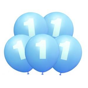 """Balon urodzinowy / """"1"""" niebieski 100 szt."""