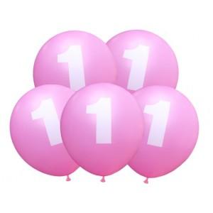 """Balon urodzinowy / """"1"""" różowy 100 szt."""