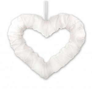Serce z tasiemką białe 50 cm