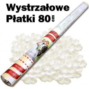 Wystrzałowe konfetti / wyrzutnia płatków 80 cm (ecru)
