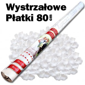 Wystrzałowe konfetti / wyrzutnia płatków 80 cm (białe)