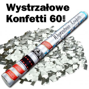 Wystrzałowe konfetti srebrne metaliczne+białe serca 60 cm