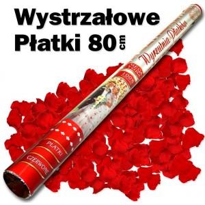 Wystrzałowe konfetti / wyrzutnia płatków 80 cm (czerwone)