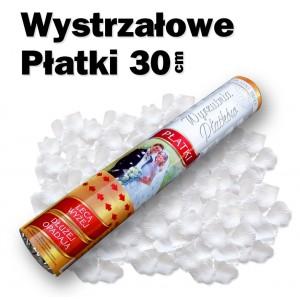 Wystrzałowe konfetti / wyrzutnia płatków 30 cm (białe)
