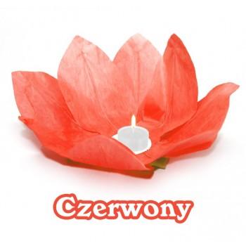 Lampion pływający / czerwony kwiat lotosu