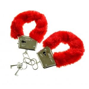 Kajdanki z futerkiem czerwone / pudełko
