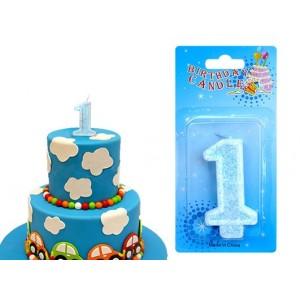 """Świeczka urodzinowa  """"1"""" niebieska mocny brokat"""