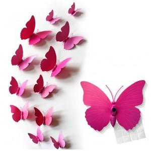 Motylki 3D PCV /12 szt. różowe