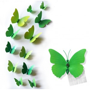 Motylki 3D PCV /12 szt. zielone