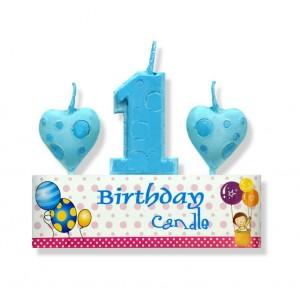 Zestaw urodzinowy świeczka/ 3 szt. niebieski