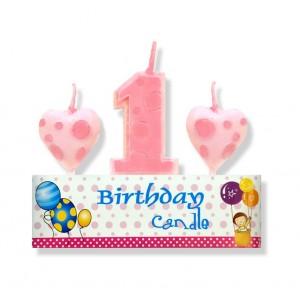 Zestaw urodzinowy świeczka/ 3 szt. różowy