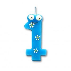 """Świeczka urodzinowa """"1"""" niebieska stworek"""