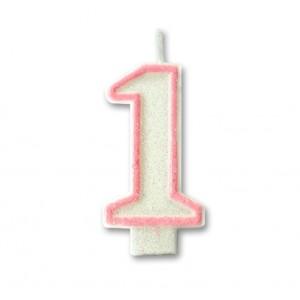 """Świeczka urodzinowa """"1"""" biało/róż. brokat"""