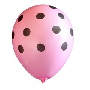 Balon / różowy w czarne grochy 100 szt.