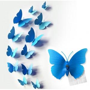 Motylki 3D PCV /12 szt. niebieskie
