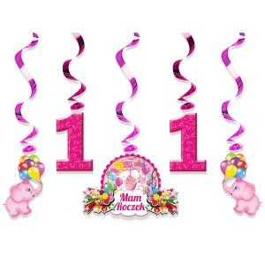 Świderki urodzinowe 5 szt. / różowe