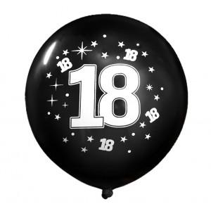 """Balon urodzinowy / """"18"""" czarny 100 szt."""