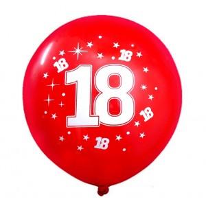 """Balon urodzinowy / """"18"""" czerwony 100 szt."""