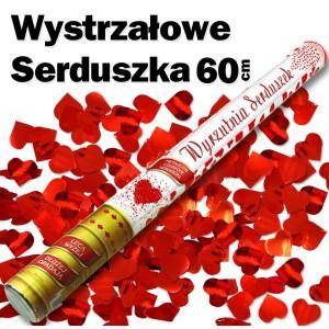 Wystrzałowe konfetti metaliczne czerwone serduszka 60 cm