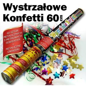 Wystrzałowe konfetti metaliczne serpentyny + gwiazdki 60 cm