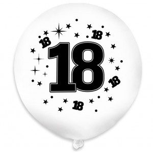 """Balon urodzinowy / """"18"""" biały 100 szt."""