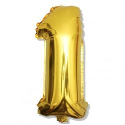 """Balon cyfra złota """"1"""" 40 cm"""