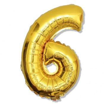 """Balon cyfra złota """"6"""" 40 cm"""