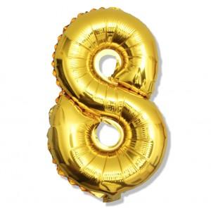 """Balon cyfra złota """"8"""" 40 cm"""