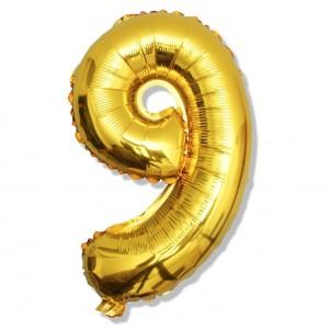 """Balon cyfra złota """"9"""" 40 cm"""