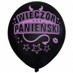 Balon Wieczór Panieński / perłowy, rogi, czarny, różowy nadruk