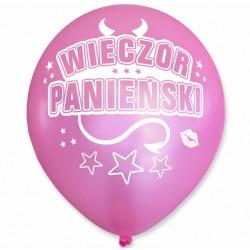 Balon Wieczór Panieński / perłowy, rogi, różowy, biały nadruk