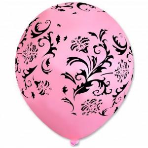 Balon / różowy w czarne wzorki 100 szt.