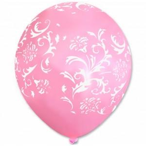 Balon / różowy w białe wzorki 100 szt.