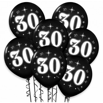 """Balon urodzinowy / """"30"""" metaliczny czarny 100 szt."""