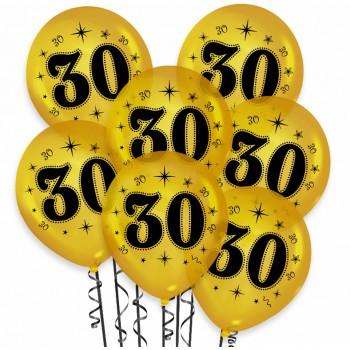 """Balon urodzinowy / """"30"""" metaliczny złoty 100 szt."""