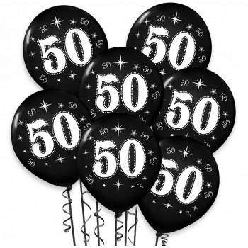 """Balon urodzinowy / """"50"""" metaliczny czarny 100 szt."""