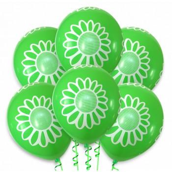 Balon zielony / białe kwiatki 100 szt.