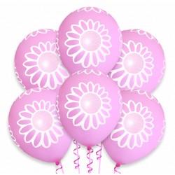 Balon różowy / białe kwiatki 100 szt.