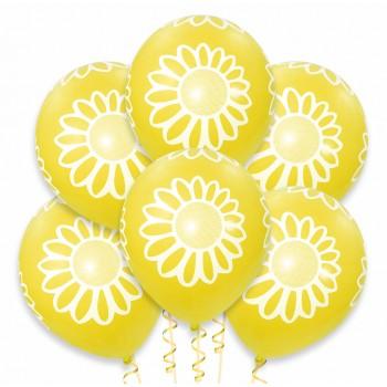 Balon żółty / białe kwiatki 100 szt.