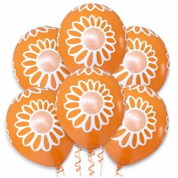 Balon pomarańczowy / białe kwiatki 100 szt.
