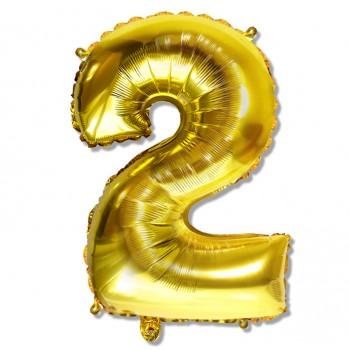 """Balon cyfra złota """"2"""" 75 cm"""