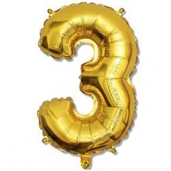"""Balon cyfra złota """"3"""" 75 cm"""
