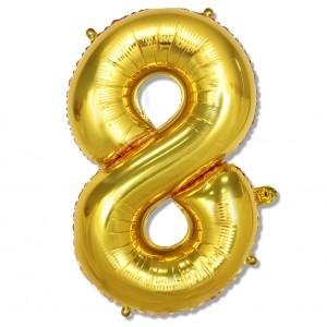 """Balon cyfra złota """"8"""" 100 cm"""
