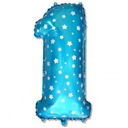 """Balon cyfra niebieska """"1"""" 75 cm"""