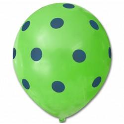 Balon zielony / niebieskie kropy 100 szt.