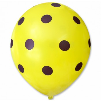 Balon żółty / fioletowe kropy 100 szt.