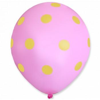 Balon różowy / żółte kropy 100 szt.