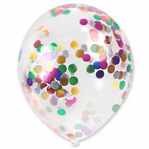 Balon przeźroczysty / konfetti kolorowe 100 szt.