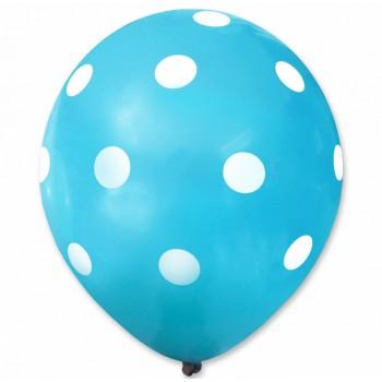 Balon niebieski / białe kropy 100 szt.
