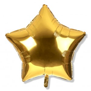 Balon gwiazdka 45 cm / foliowy / złoty